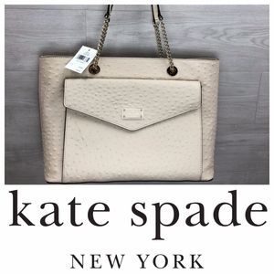 Kate Spade Halsey Ostrich Leather Tote Cream White